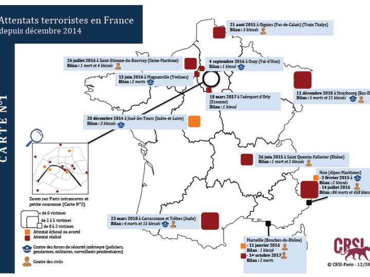 Attentats terroristes en France: La cartographie du CRSI (juin 2019)