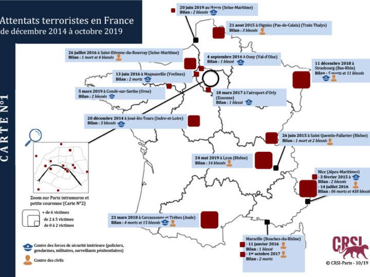 Attentats terroristes en France: La cartographie du CRSI (octobre 2019)