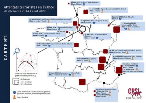 Attentats terroristes en France : La cartographie du CRSI (24 avril 2020)