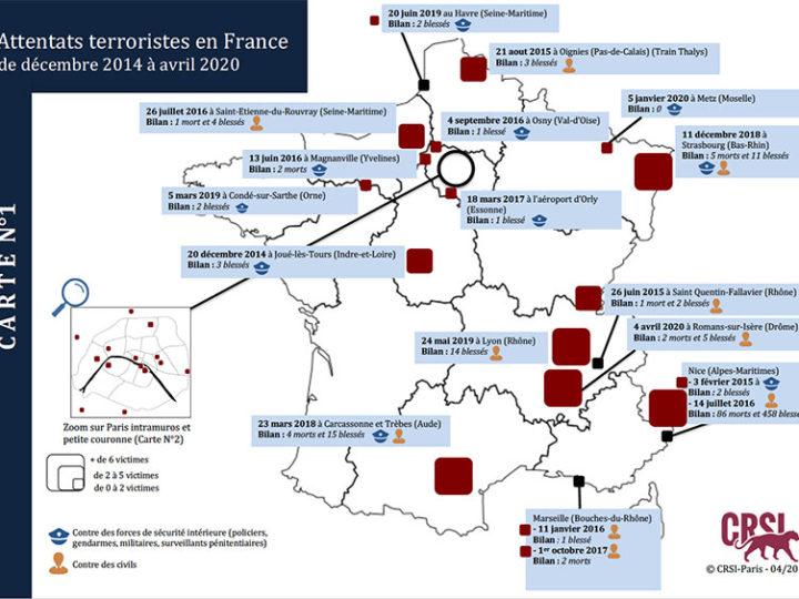 Attentats terroristes en France: La cartographie du CRSI (décembre 2014 à avril 2020)