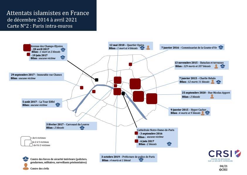 Carte des attentats Paris