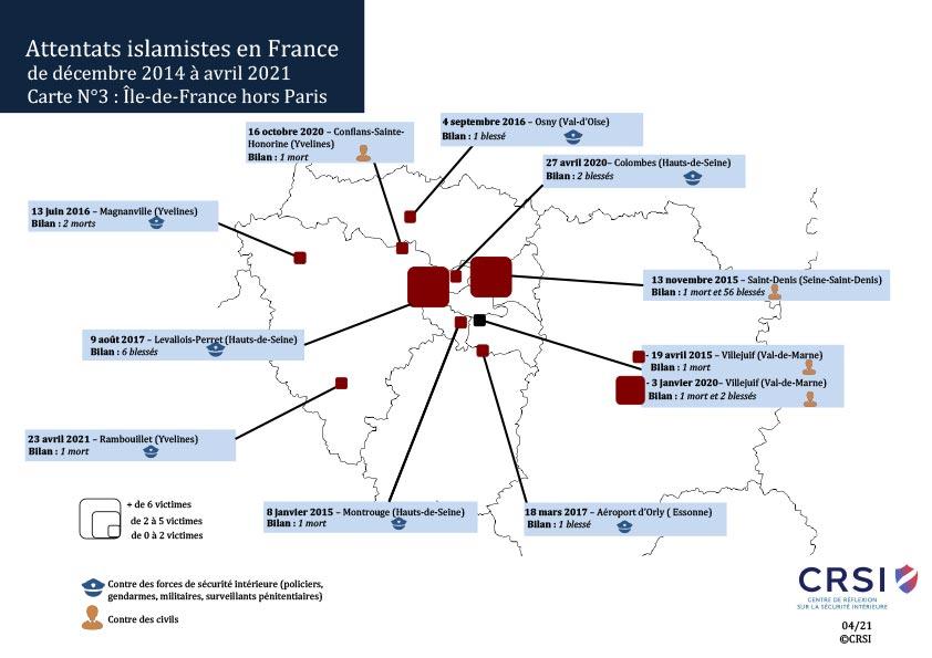 Carte des attentats IDF hors Paris