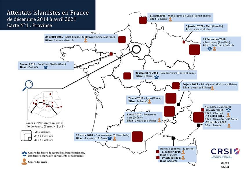 Carte des attentats province