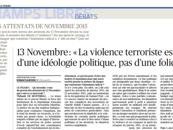13 Novembre: «La violence terroriste est le fruit d'une idéologie politique, pas d'une folie»
